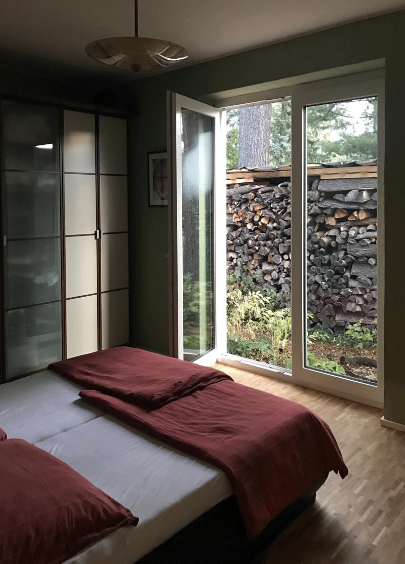 Lehmputz in Schlafzimmer